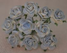 1 cm 2 tone BABY BLUE Mulberry Paper Roses